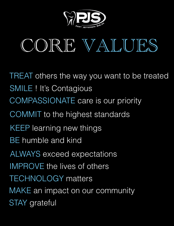 Port Jefferson Smiles - Karen Halpern DMD, MS - Core Values