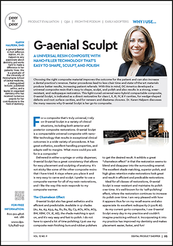 G-aenial Sculpt, A Universal Resin Composite with Nano-filler Technology That's Easy to Shape, Sculpt, and Polish